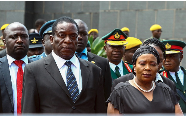 Former vice-president Emmerson Mnangagwa with wife Auxilia.png