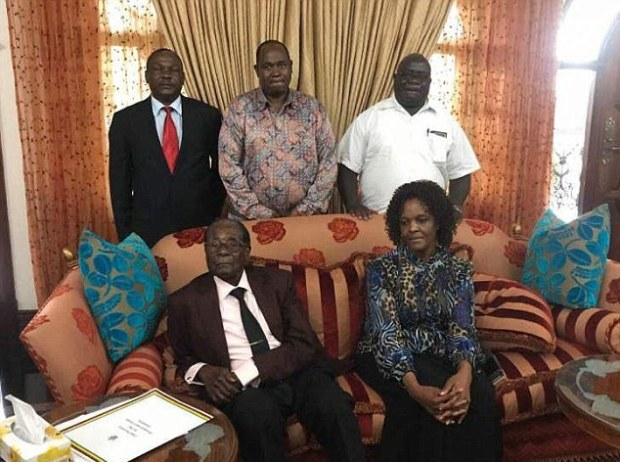 Robert Mugabe and his wife Grace have been pictured for the first time since the former dictator was granted immunity as part of a resignation deal.jpg