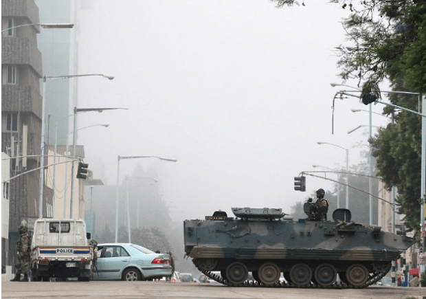 Tanks were scene on the streets of Harare this morning after it emerged that the president, Robert Mugabe, had been detained.png