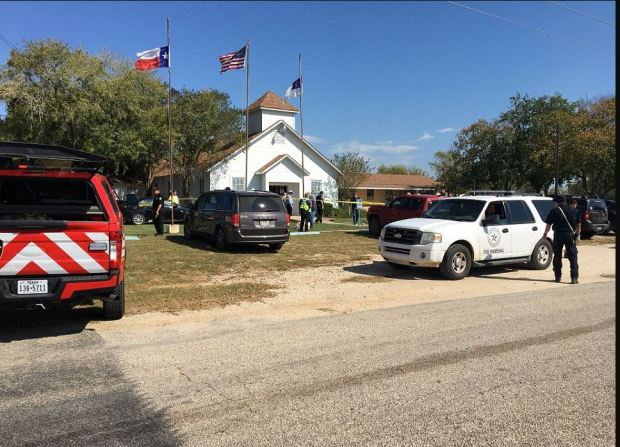 The shooting occcurred during the 11.30am service after a man in full comat gear walked into the church and opened fire