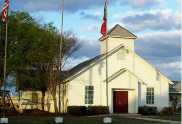 The First Baptist church in Sutherland Springs near San Antonio, Texas