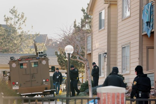 Arapahoe County Sheriff Bomb Squad truck outside the Highlands Ranch building, complex Denver Colorado 2