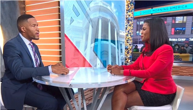 Michael Strahan interviews Omarosa Manigault [right], Newman on abc 1 .png