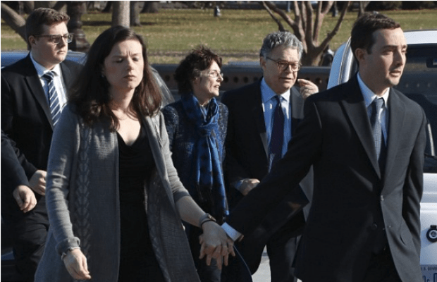 Sen. Al Franken arrives with his wife Franni Bryson and family to the capitol Dec 6.png