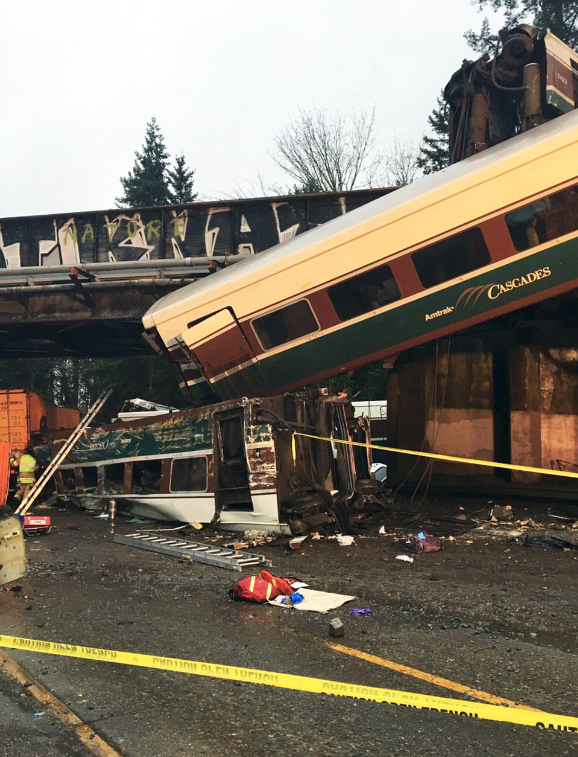 Train 501 was going south when it derailed while crossing a bridge over Interstate 5 near DuPont, Washington  , causing at least one car to fall onto the freeway below Dec 18,2017-2.png