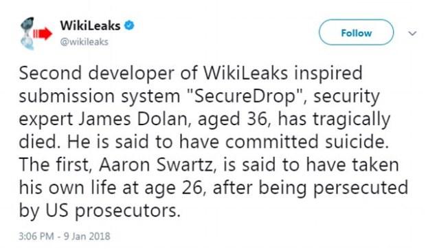 Aaron Swartz tweet from Wikileaks