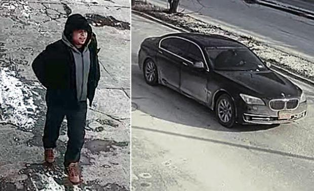 Police say this man is a person on interest in connection with the home invasion attack. The bandits sped off in a BMW sedan [right] 1.jpg
