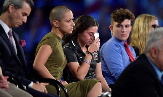 Emma González, and other survivivors of the Marjory Stoneman Douglas shooting at a CNN town hall meeting on Feb 21 .jpg