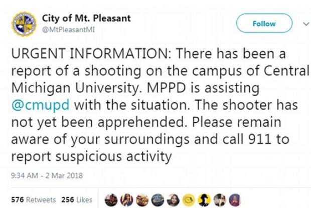 City of Mt Pleasant tweet on CMUniversity shooting.png