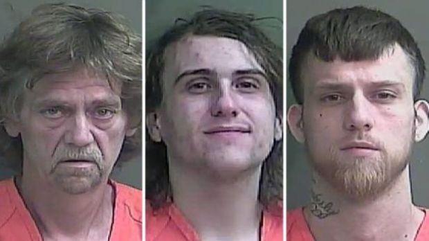 Previous mugshots, according to Fox 59, of John Baldwin Sr. (left), Anthony Baumgardt (middle), John D. Baldwin Jr. (right) 1.jpg