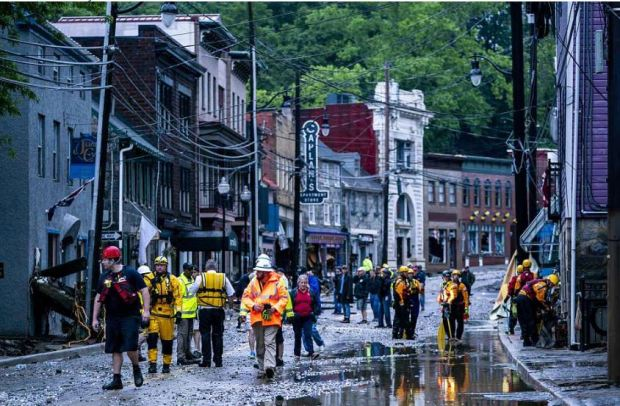 First responders and rescuers in Ellicott City.JPG
