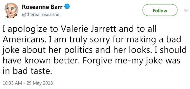 Rosanne Barr tweet bapologising for Valerie Jarret tweet 4.png