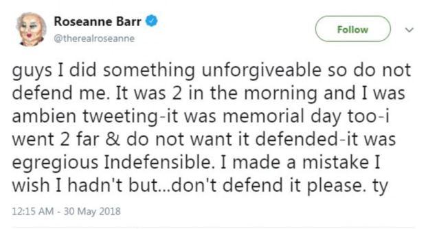 Rosanne Barr tweet blaming Ambien 1.png