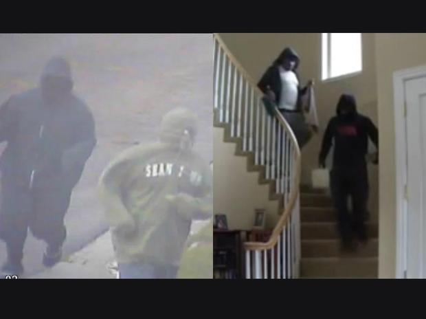 Surveillance image of two people police identify as Rob Baker and an accomplice entering the Sementilli home