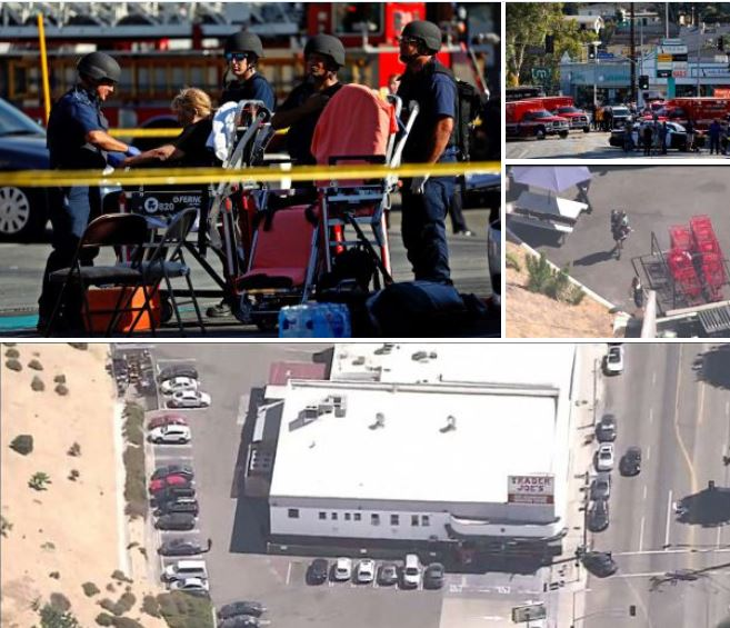 Gunman on the run after 'shooting his girlfriend and grandmother, takes hostages and opens fire' inside a Trader Joe's in Los Angeles - Gunman gives himself up