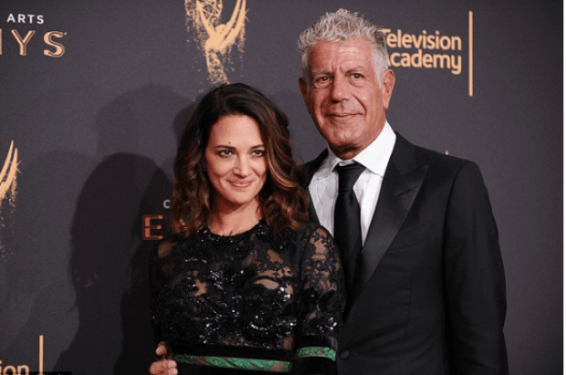 Asia Argento and Anthony Bourdain at the Emmy Awards in Sept 2017.png