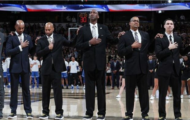 Jamil Jones [left],Randolph Childress (second from left), Steve Woodberry (second from right), Justin Bauman (far right), and head coach Danny Manning (center).JPG