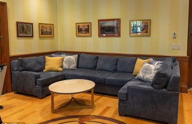 Lavish $32,000 blue suede couch in Justice Allen Loughry's office