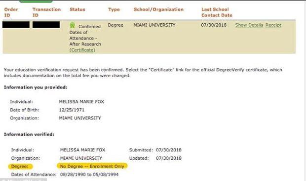 Melissa Howard posted her partial degreee.JPG