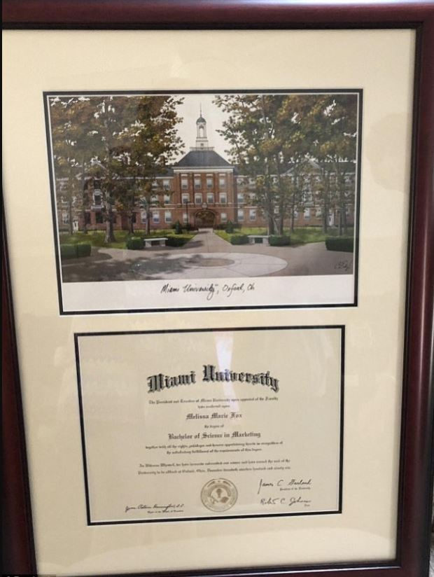 Melissa Howard's controversial college Diploma 1