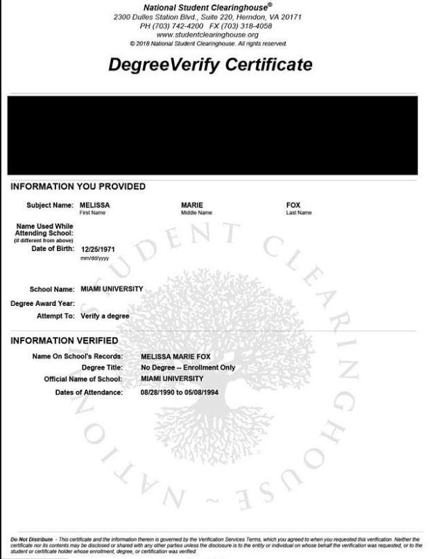 Melissa Howard's degree verification