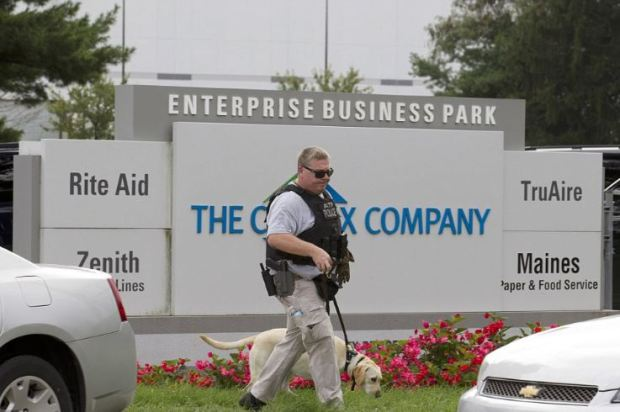 ATF agent walking around the businee Park after female shooter struck in Aberdeen MD