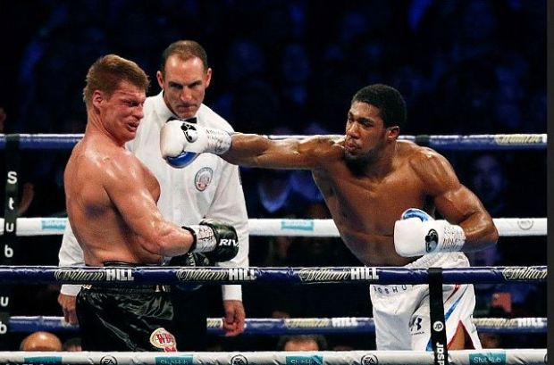 Anthony Joshua [left], vs Alexander Povetkin fight 4