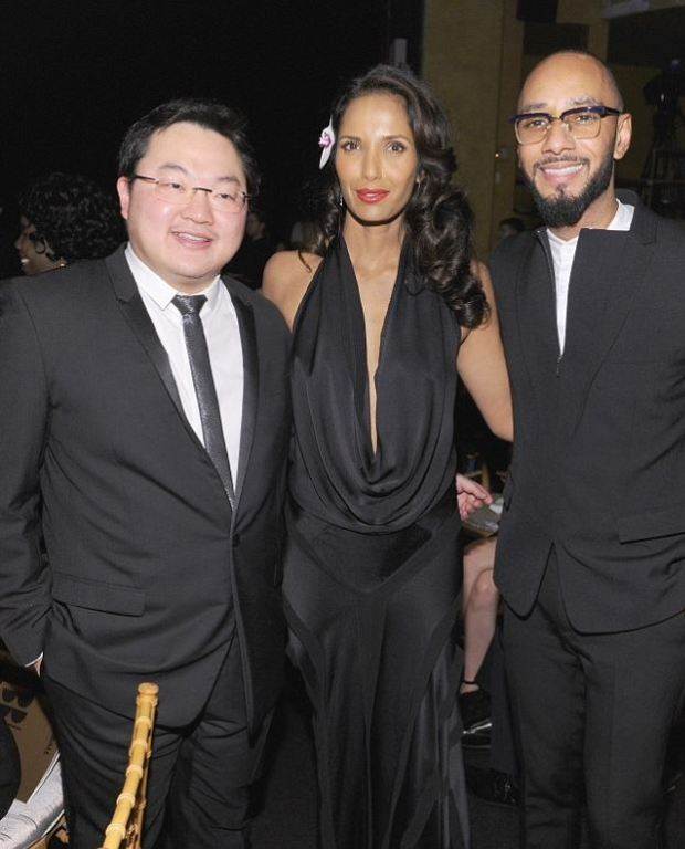 Jho Low is seen [left], here with Padma Lakshmi and Swizz Beats 1