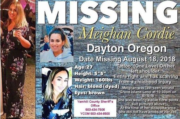 Meighan Cordie missing person's poster 1.JPG