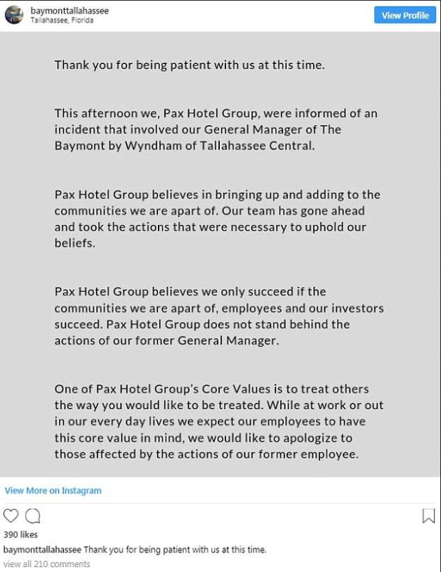 The Baymont by Wyndham hotel confirmed their former manager Don Crandall was the man involved with the incident.JPG