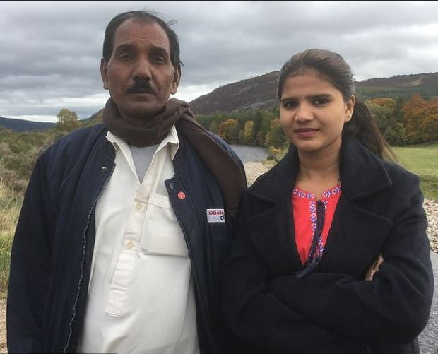 Asia Bibi's husband Ashiq Masih and their daughter Eisham during a speaking tour of the UK in Oct 2018