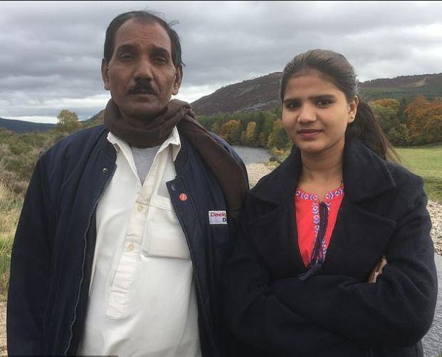 Asia Bibi's husband Ashiq Masih and their daughter Eisham during a speaking tour of the UK in Oct 2018