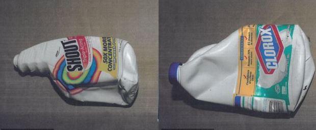 Bottles of bleach presented in the James Rackover,murder trial.JPG