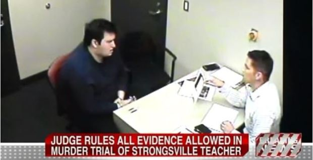 Jeffery Scullin [left] being questioned by police after he was arrested for murder.JPG