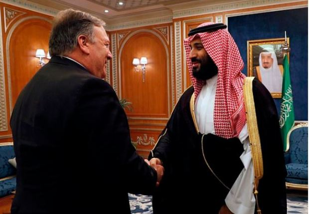 Mike Pompeo shakes hands with Saudi Crown Prince Mohammed bin Salman 1