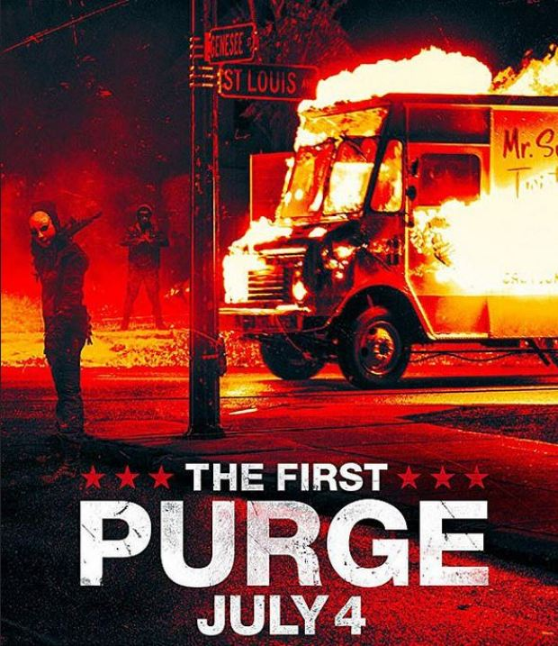 Poster for club event apparently inspired by a 2018 horror movie called 'The First Purge'