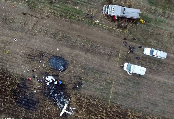 Aerial view of the spot where Martha Erika Alonso and her husband e Rafael Moreno Valle Rosas died in a plane crash 2