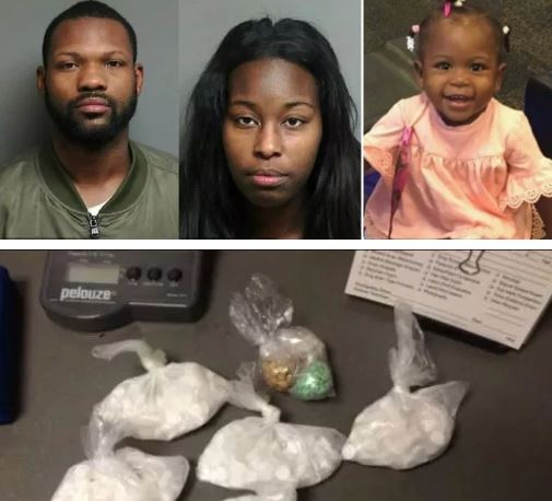Detroit couple charged with murder after their 18-month-old daughter died on Christmas Day from Fentanyl poisoning - Antonio Floyd and Shantanice Barksdale 'were packaging drugs for sale' in their home