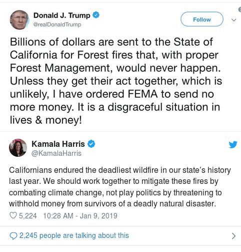Kamala response on FEMA fire funds 1