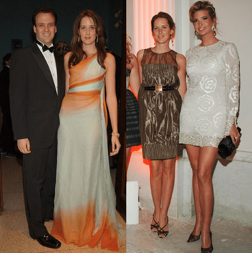Mortimer David Alfons Sackler, with his wife, Jaqueline [left], Jaqueline with Ivanka Trump [right]