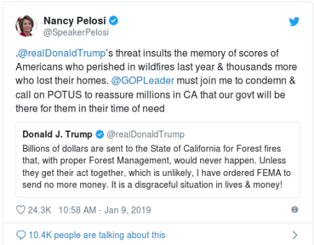 Nancy Pelosi tweet on FEMA fire funds 1
