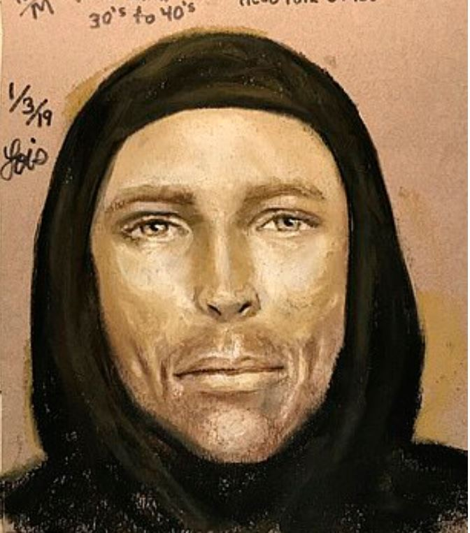 Sketch of White male who allegedly killed Jazmine Barnes 1