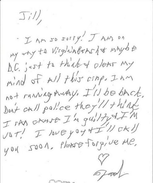 Tad Cummins' jailhouse note to Jill, his then wife