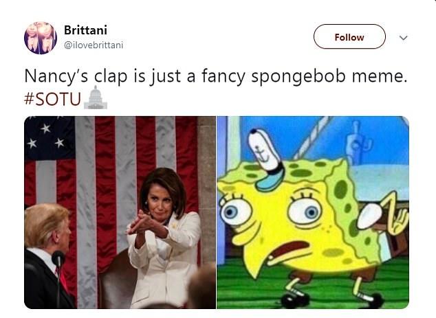 Nancy Pelosi and Donald Trump, spongebob meme 1
