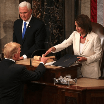 President Trump shakes Speaker Pelosi at State Of The Union 1