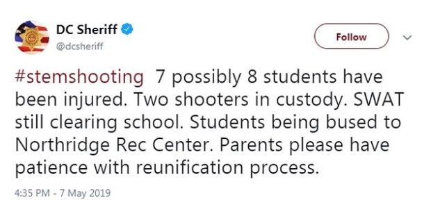 Douglas County Sheriff's Office tweeted that two suspected gunmen were in custody 1
