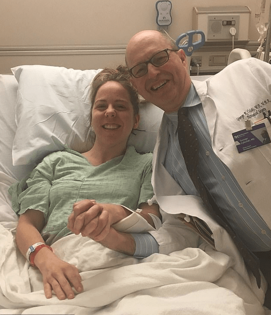 Erin Rollings and one of her doctors while in recovery 1