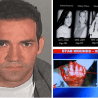 Grisly crime scenes are shown to a jury in trial of   'Hollywood Ripper' Michael Gargiulo - Bloodied hand of the brave survivor, knives he used to cut off the breasts of another victim and diagram showing the stab wounds of Ashton Kutcher's ex-girlfriend