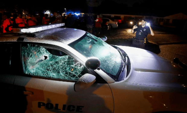 Police cruiser damaged during protests in Memphis over police killing of Brandon Webber