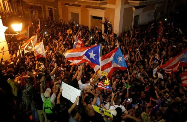 Jubiliation on the streets of Puerto Rico after Gov Ricardo Rosello resigned 2